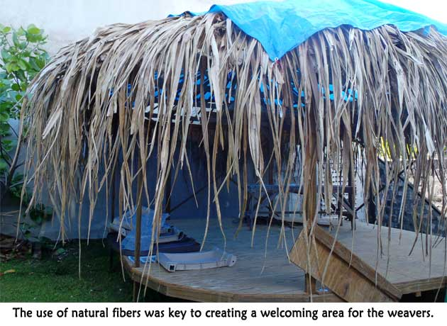 Using natural fibers to build jaki-ed weaving house